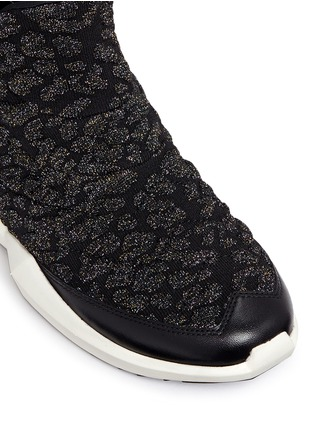 Detail View - Click To Enlarge - Ash - 'Quid' geometric sole cheetah jacquard knit sneakers