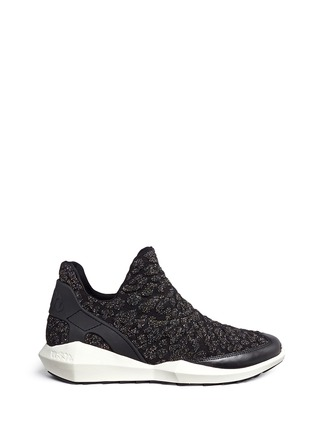 Main View - Click To Enlarge - Ash - 'Quid' geometric sole cheetah jacquard knit sneakers