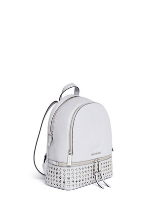 Front View - Click To Enlarge - Michael Kors - 'Rhea' small grommet leather backpack