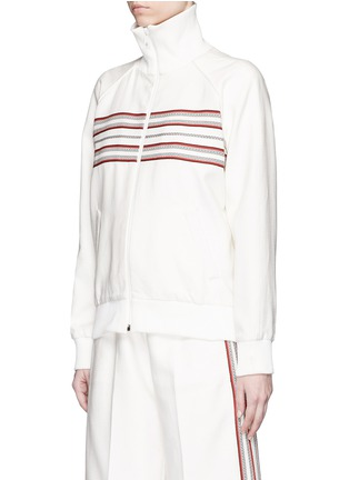 Front View - Click To Enlarge - Hillier Bartley - Stripe embroidery zip track jacket
