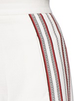 Stripe embroidery cropped wide leg pants