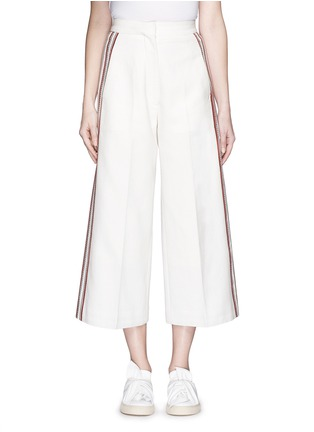 Main View - Click To Enlarge - Hillier Bartley - Stripe embroidery cropped wide leg pants