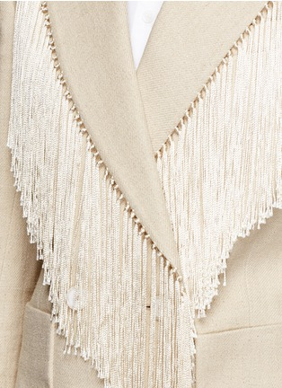 Detail View - Click To Enlarge - Hillier Bartley - Fringe trim double breasted blazer