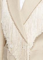 Fringe trim double breasted blazer