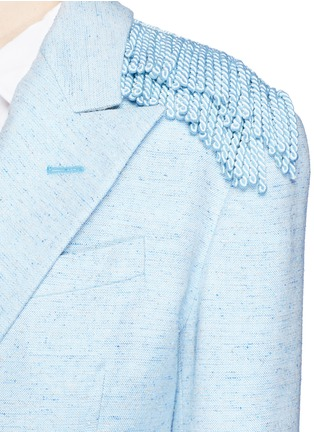 Detail View - Click To Enlarge - Hillier Bartley - Tassel trim double breasted tweed blazer