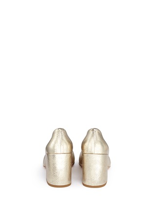 Dries Van Noten - Chunky heel metallic leather pumps