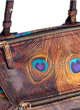 Detail View - Click To Enlarge - Givenchy - 'Pandora' mini peacock feather print leather bag