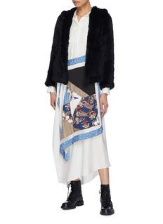 H BRAND'Chloe' rabbit fur hooded jacket