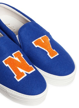 Detail View - Click To Enlarge - Joshua Sanders - 'NY Basketball' felt skate slip-ons