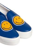 'Smile' appliqué leather flatform skate slip-ons