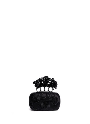 Back View - Click To Enlarge - Alexander McQueen - Rose embroidery knuckle box clutch
