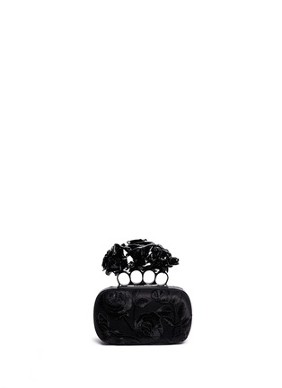 Main View - Click To Enlarge - Alexander McQueen - Rose embroidery knuckle box clutch