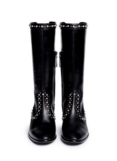 ALEXANDER MCQUEEN Dome stud calfskin leather boots