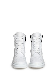 ALEXANDER MCQUEEN Chunky outsole suede collar leather high top sneakers