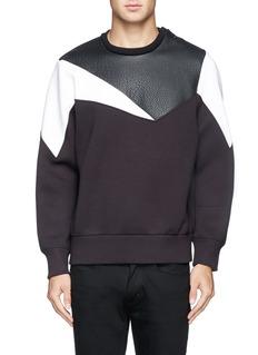 NEIL BARRETTGeometric  leather panel neoprene sweatshirt
