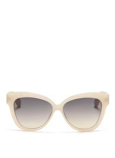 LINDA FARROWSnakeskin temple chunky cat-eye sunglasses