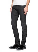 Washed rib-knit panel skinny jeans