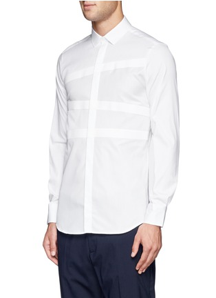 Front View - Click To Enlarge - Neil Barrett - Irregular stripe panel shirt