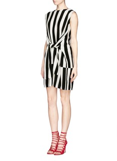 MO&CO. EDITION 10 Tied sleeve vertical stripe wool dress