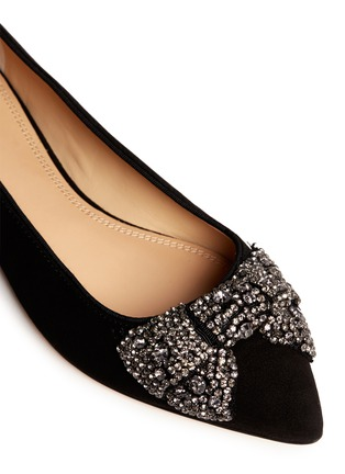 Detail View - Click To Enlarge - Tory Burch - 'Vanessa' crystal bow suede flats