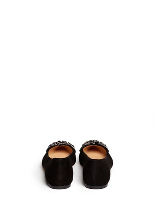 Back View - Click To Enlarge - Tory Burch - 'Vanessa' crystal bow suede flats