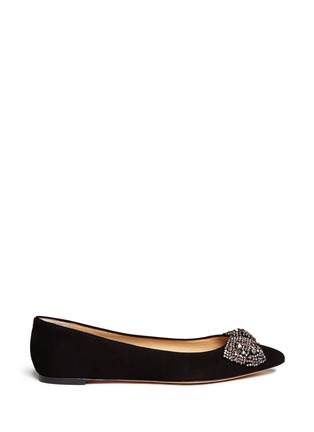 Main View - Click To Enlarge - Tory Burch - 'Vanessa' crystal bow suede flats
