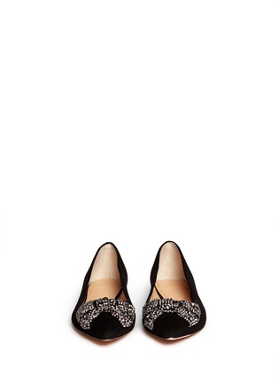 Figure View - Click To Enlarge - Tory Burch - 'Vanessa' crystal bow suede flats
