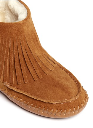 Detail View - Click To Enlarge - Tory Burch - 'Collins' fringe shearling moccasin boots
