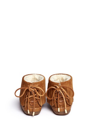 Back View - Click To Enlarge - Tory Burch - 'Collins' fringe shearling moccasin boots