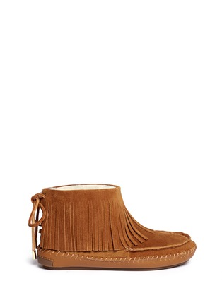 Main View - Click To Enlarge - Tory Burch - 'Collins' fringe shearling moccasin boots