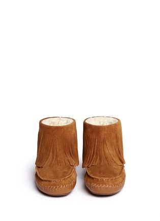 Figure View - Click To Enlarge - Tory Burch - 'Collins' fringe shearling moccasin boots