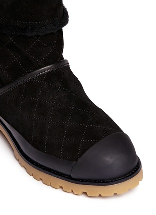 Detail View - Click To Enlarge - Tory Burch - 'Boughton' quilted suede shearling boots