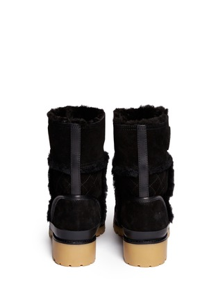 Back View - Click To Enlarge - Tory Burch - 'Boughton' quilted suede shearling boots
