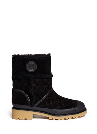 Main View - Click To Enlarge - Tory Burch - 'Boughton' quilted suede shearling boots