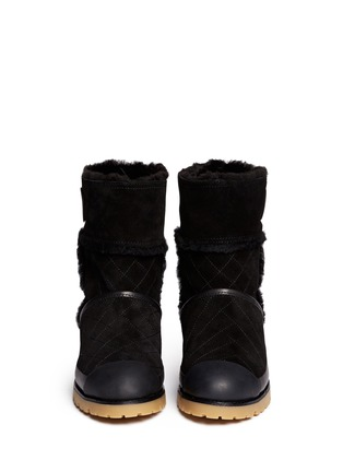 Figure View - Click To Enlarge - Tory Burch - 'Boughton' quilted suede shearling boots