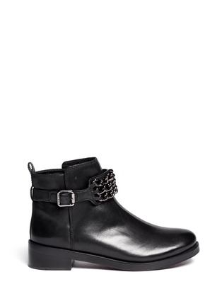 Main View - Click To Enlarge - Tory Burch - 'Bloomfield' chain strap leather ankle boots