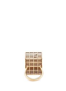 JACQUELINE RABUN 'Grace' diamond gold alloy geometric grid ring