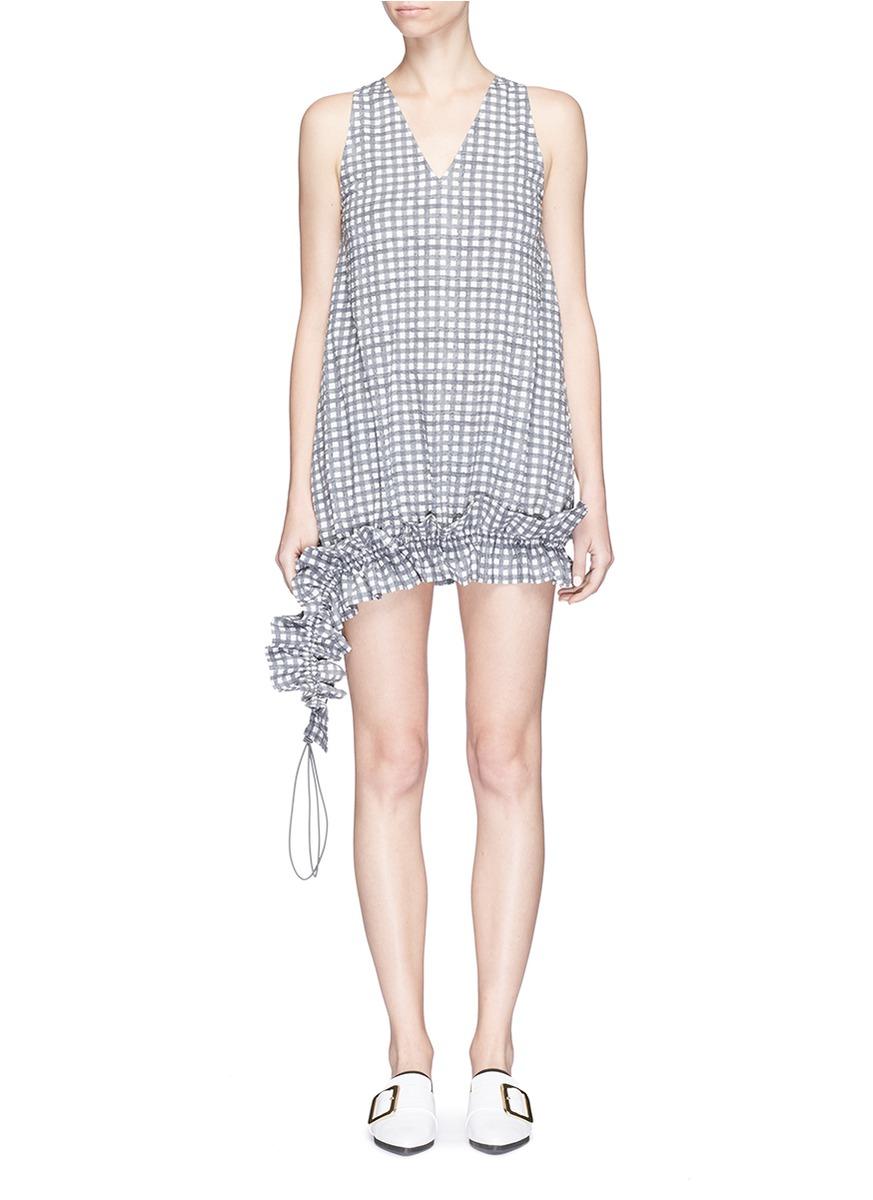 Asymmetric ruffle hem check print dress by Dawei