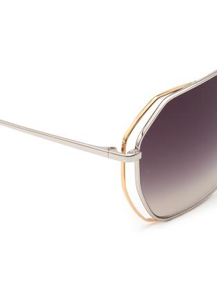 Detail View - Click To Enlarge - Linda Farrow - Layered hexagon frame titanium sunglasses