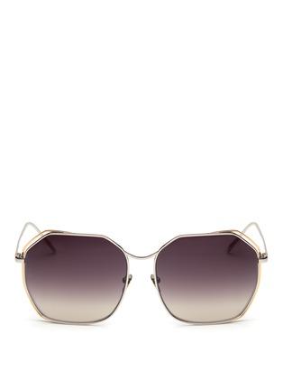 Main View - Click To Enlarge - Linda Farrow - Layered hexagon frame titanium sunglasses