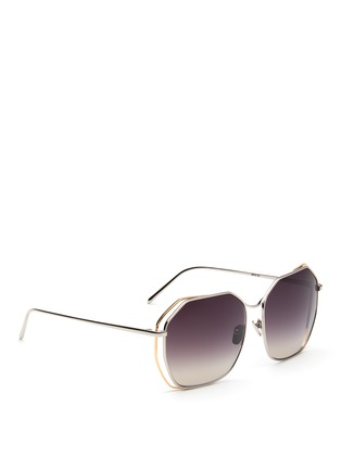 Figure View - Click To Enlarge - Linda Farrow - Layered hexagon frame titanium sunglasses