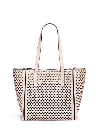 Detail View - Click To Enlarge - Chloé - 'Milo' medium pineapple embossed perforated leather tote