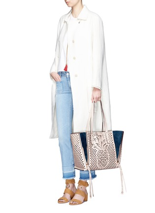 Figure View - Click To Enlarge - Chloé - 'Milo' medium pineapple embossed perforated leather tote