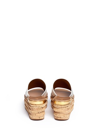 Back View - Click To Enlarge - Chloé - 'Camille' cork wedge leather slide sandals
