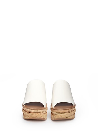 Front View - Click To Enlarge - Chloé - 'Camille' cork wedge leather slide sandals