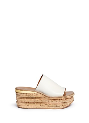 Main View - Click To Enlarge - Chloé - 'Camille' cork wedge leather slide sandals