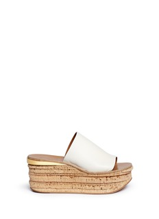 Chloé LC-503041767-30+60 O/T FLATFORM SLIDE CAMILLE IN WHITE LTHR W WOOD WEDGE