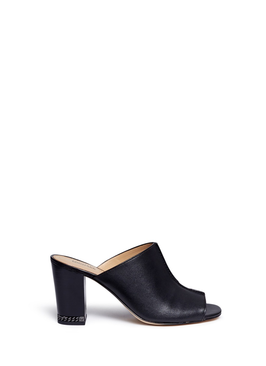 Sabrina chain heel leather mules by Michael Kors