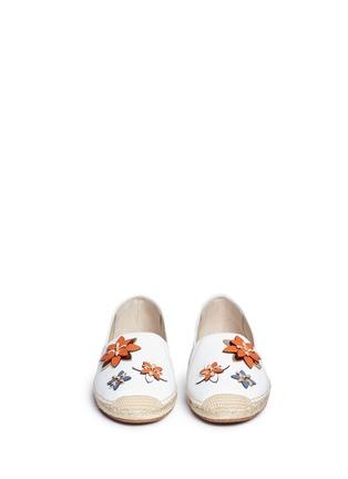 Front View - Click To Enlarge - Michael Kors - 'Heidi' floral embellished leather espadrilles