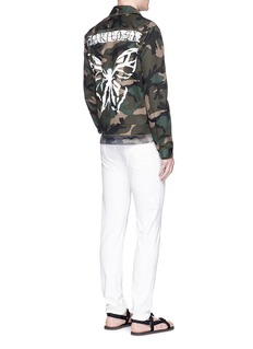Valentino Camouflage butterfly print cotton blouson jacket